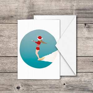 Christmas Surf Girl Greeting Card