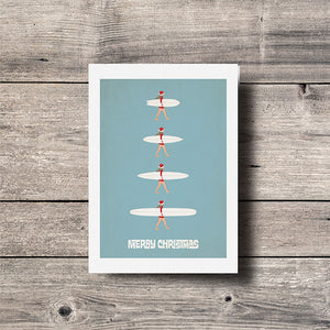 Christmas Surf Girl Quiver Greeting Card