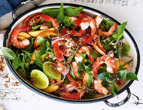 Cooked Tiger Prawns & Peach Thai Salad Recipe
