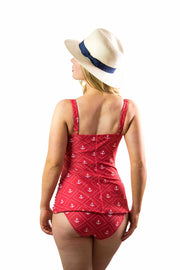 Mindy Tankini Bottom | Ruby Red Anchors (Size 18)
