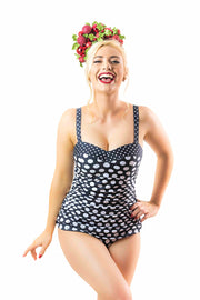 Mindy Tankini Top | Black Retro Spot