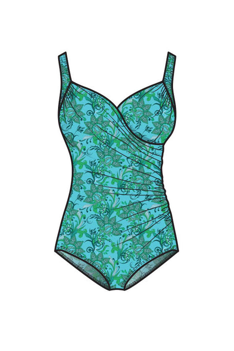 Vivien Swimsuit | Wallpaper Green (Plus Bust)