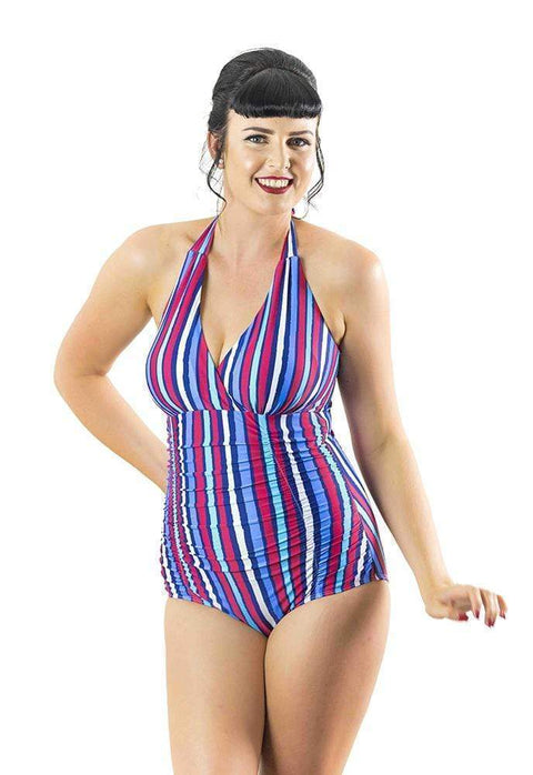 Sirens Swimwear Ava Halter Neck | Deck Chair Stripe S17-Ava-DCS-08