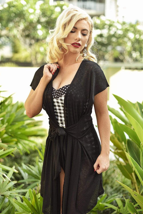 Sirens Swimwear Beth Beach Wrap Dress | Classic Black R17-Beth-BLK-S-M