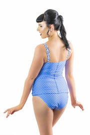 Sirens Swimwear Mindy Tankini Bottom | Cornflower Polka Dot S17-Mind-CPD-B08