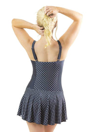Sirens Swimwear Shelly Swim Dress | Classic Black Polka Dot S17-Shel-BPD-08