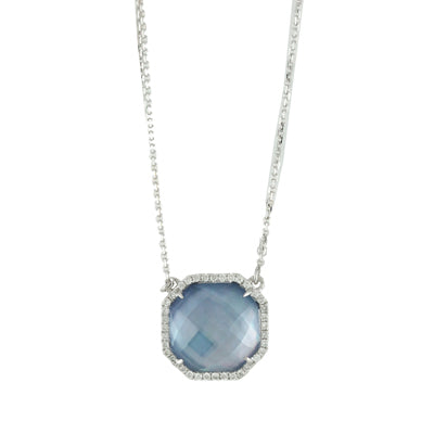 White Topaz/White MOP/Lapis Necklace