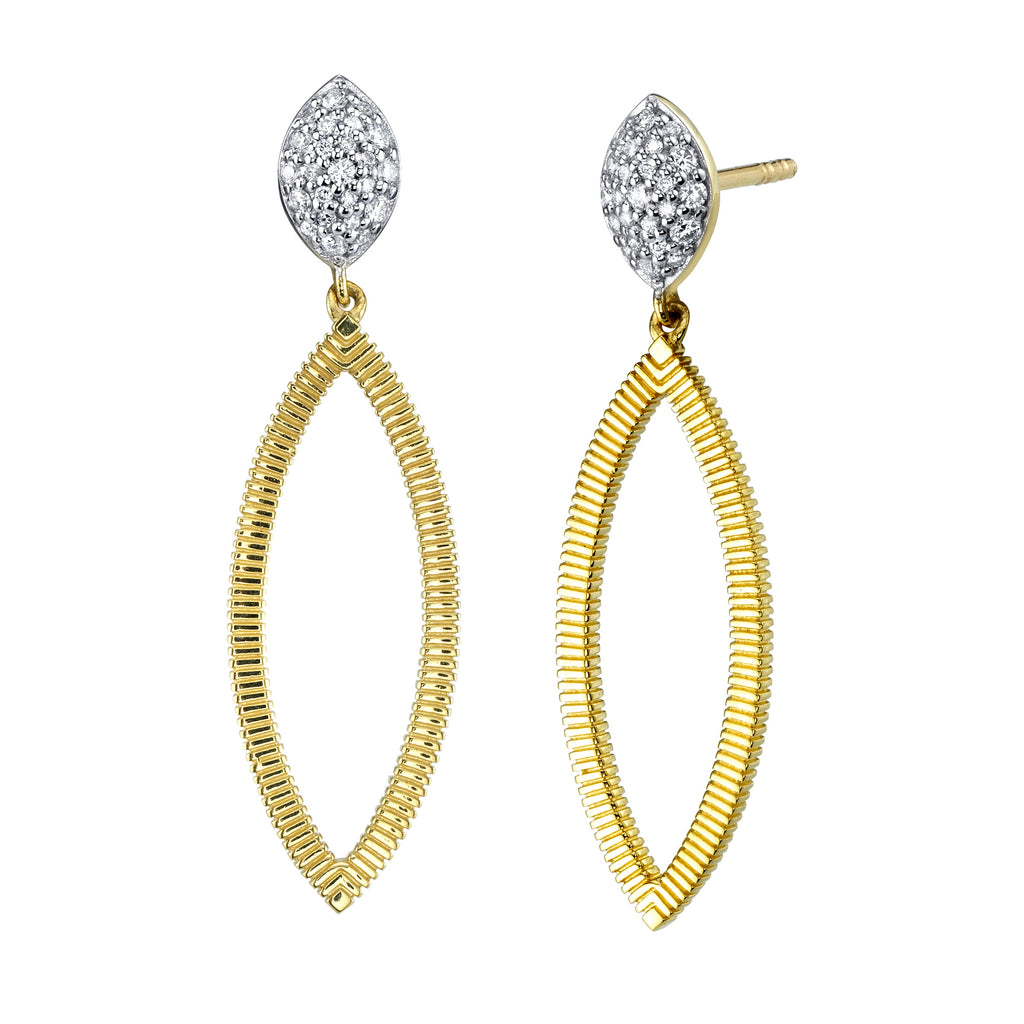Diamond Pave Cushion and Marquise Dangle Earrings
