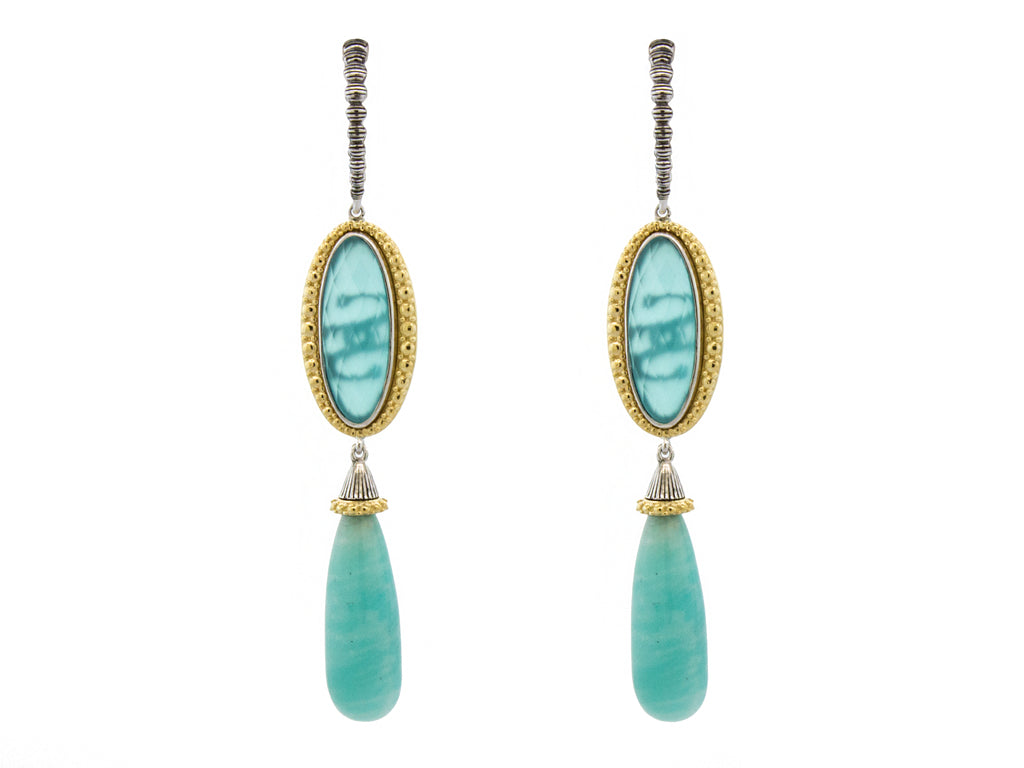 Aqua and Amazonite Dangle Earrings