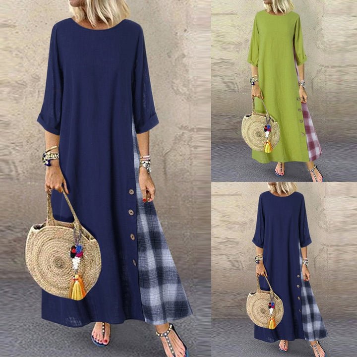 Women Casual Patchwork Sleeves O-Neck Button High Low Hem Plus Size Maxi Dresses