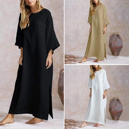 2020 Fashion Solid Color Cotton and Linen Round Neck Long Sleeve Hem Split Dress
