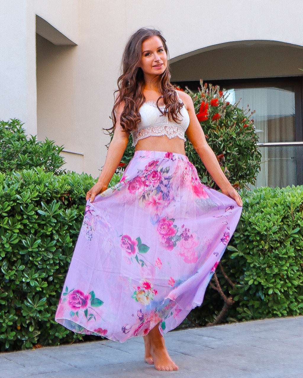 Garden Meandering Floral Maxi Skirt