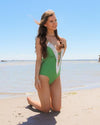 Delightful Day Green Swimsuit With Lace Details