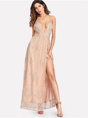 Dramatic Entrance Nude Sequin Dress