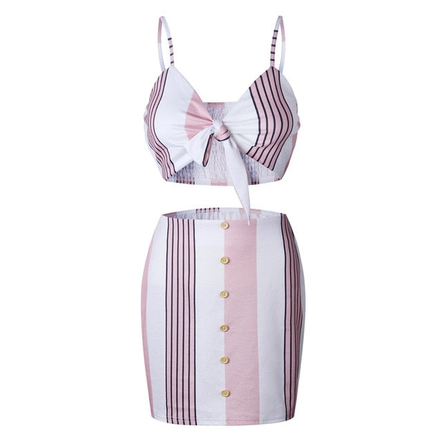 On The Road Pink Striped 2 Pieces Set