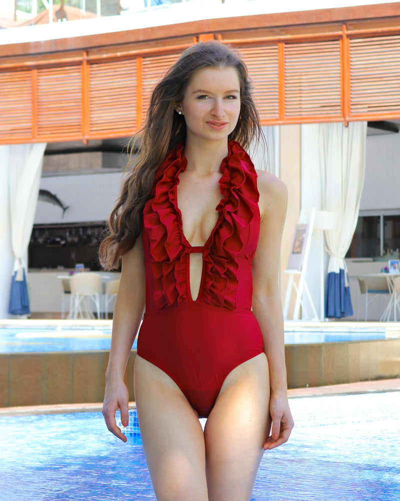 Ruffled Up Red One Piece Swimsuit