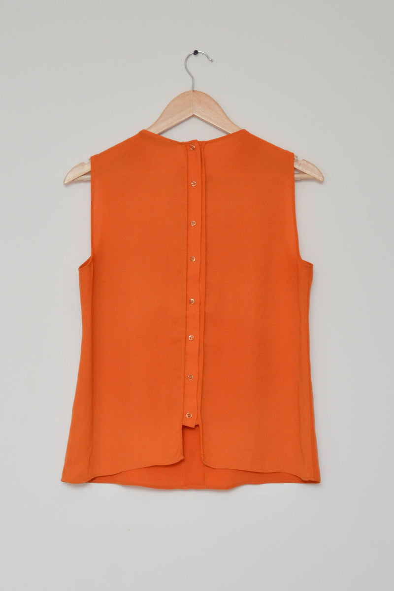 Preowned - Orange Back Button Down Top