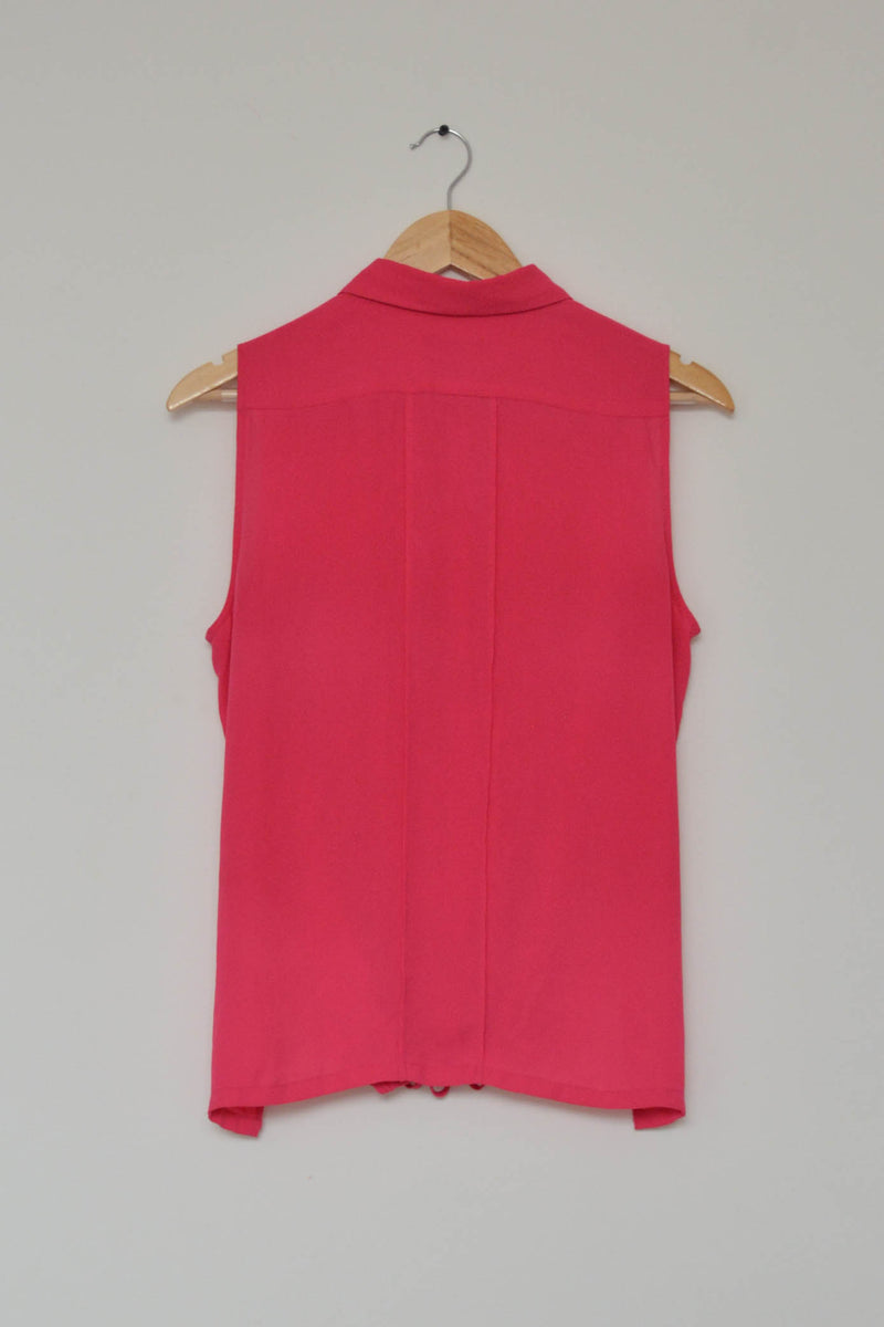 Preowned - Hot Pink sleeveless String Hemline Shirt
