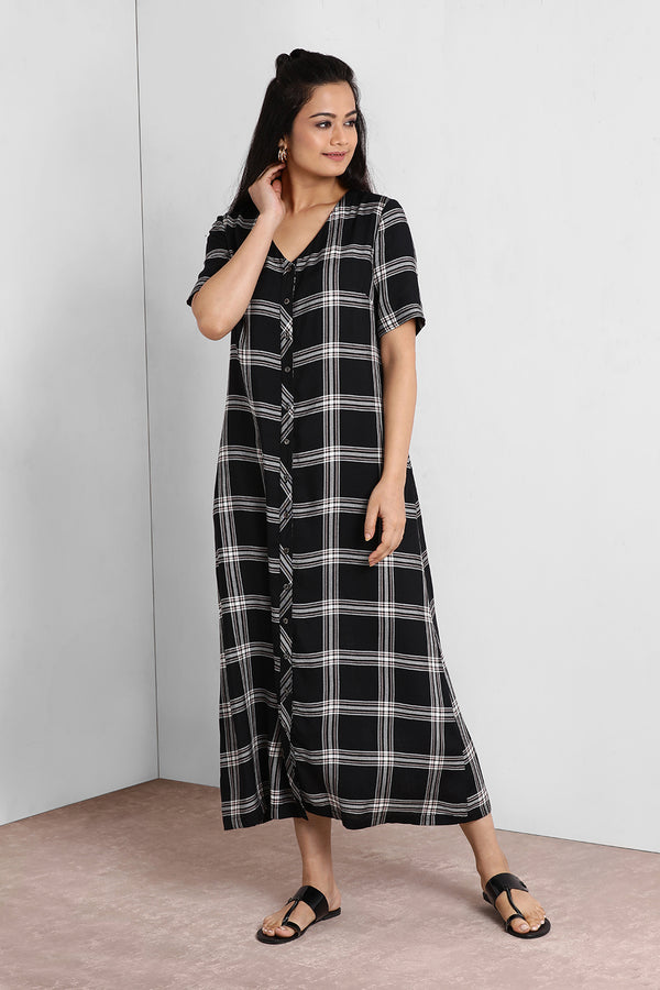 Black And Pink V Neck Button Down Maxi