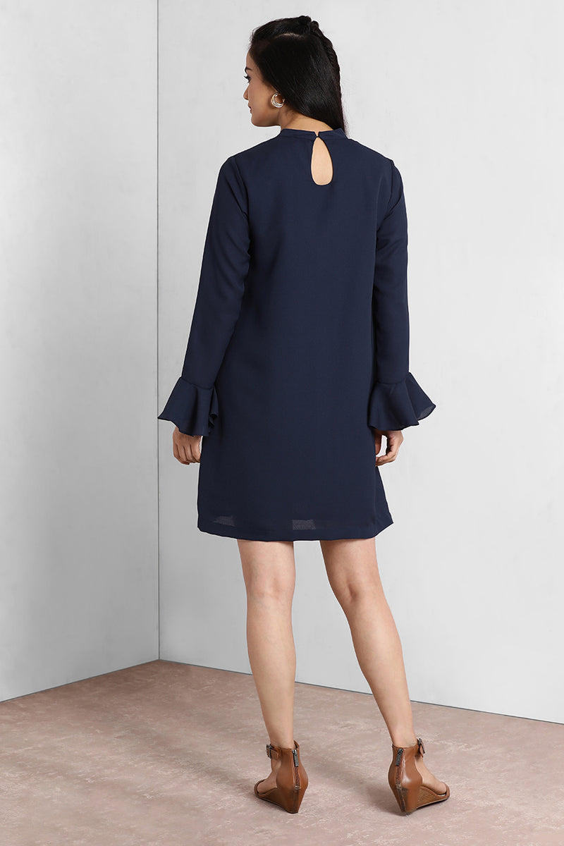 Navy Frill Sleeves Boxy Dress