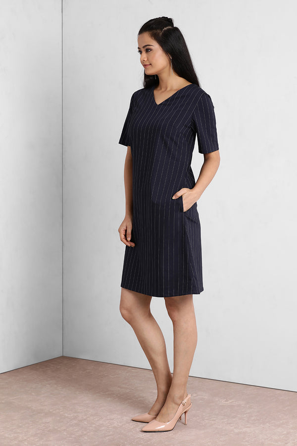 Navy Stripes V Neck Boxy Shift Dress