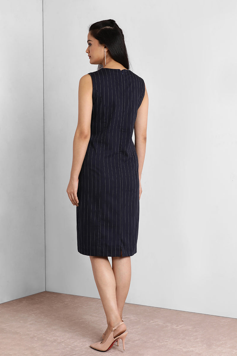 Navy Stripes Classic Shift Dress