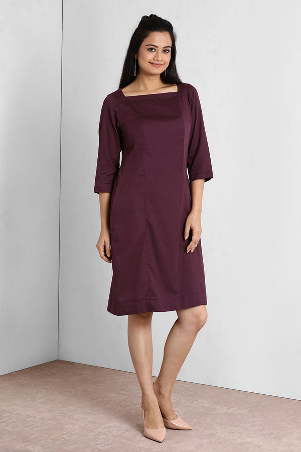 Deep Purple Square Neck Shift Dress