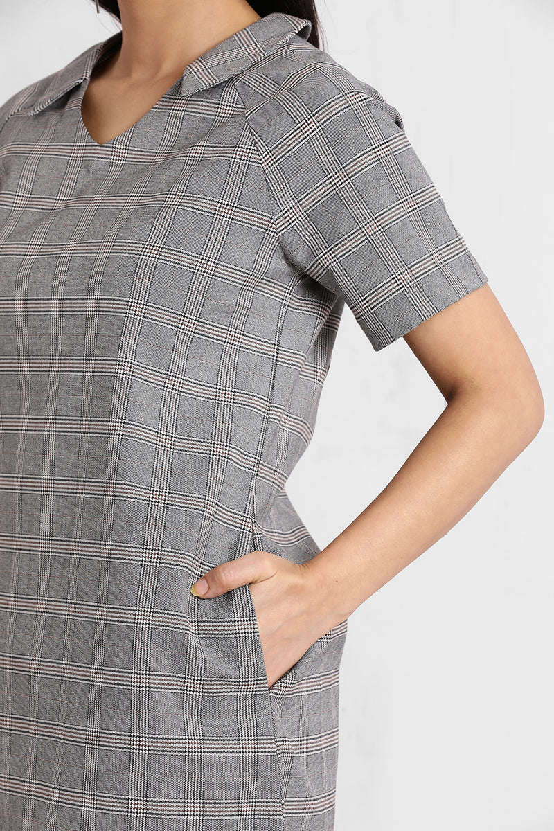 Steel Grey V Neck Collar Shift