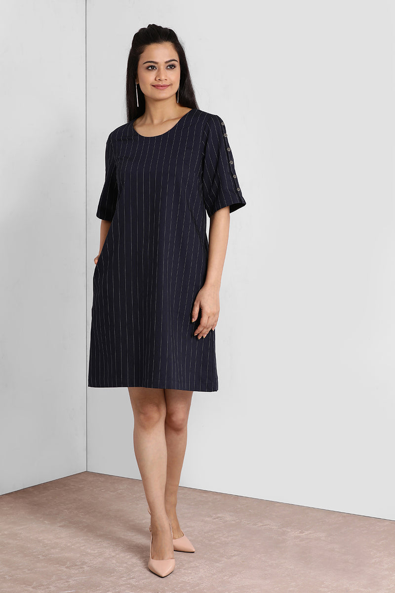 Navy Stripes Buttoned Sleeve Dress