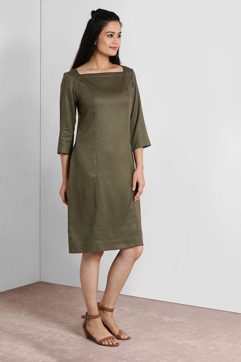 Olive Square Neck Shift Dress