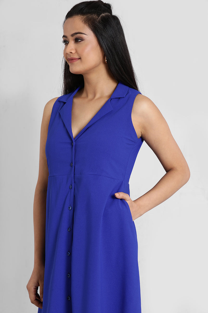 Electric Blue Notch Collar Dress