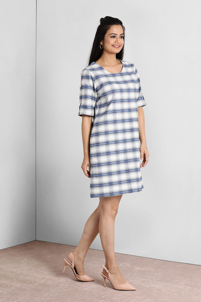 Blue And White Buttoned Sleeve Dress