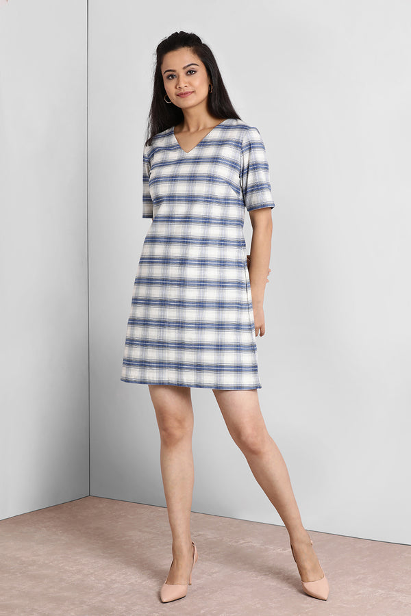 Blue And White V Neck Boxy Shift Dress