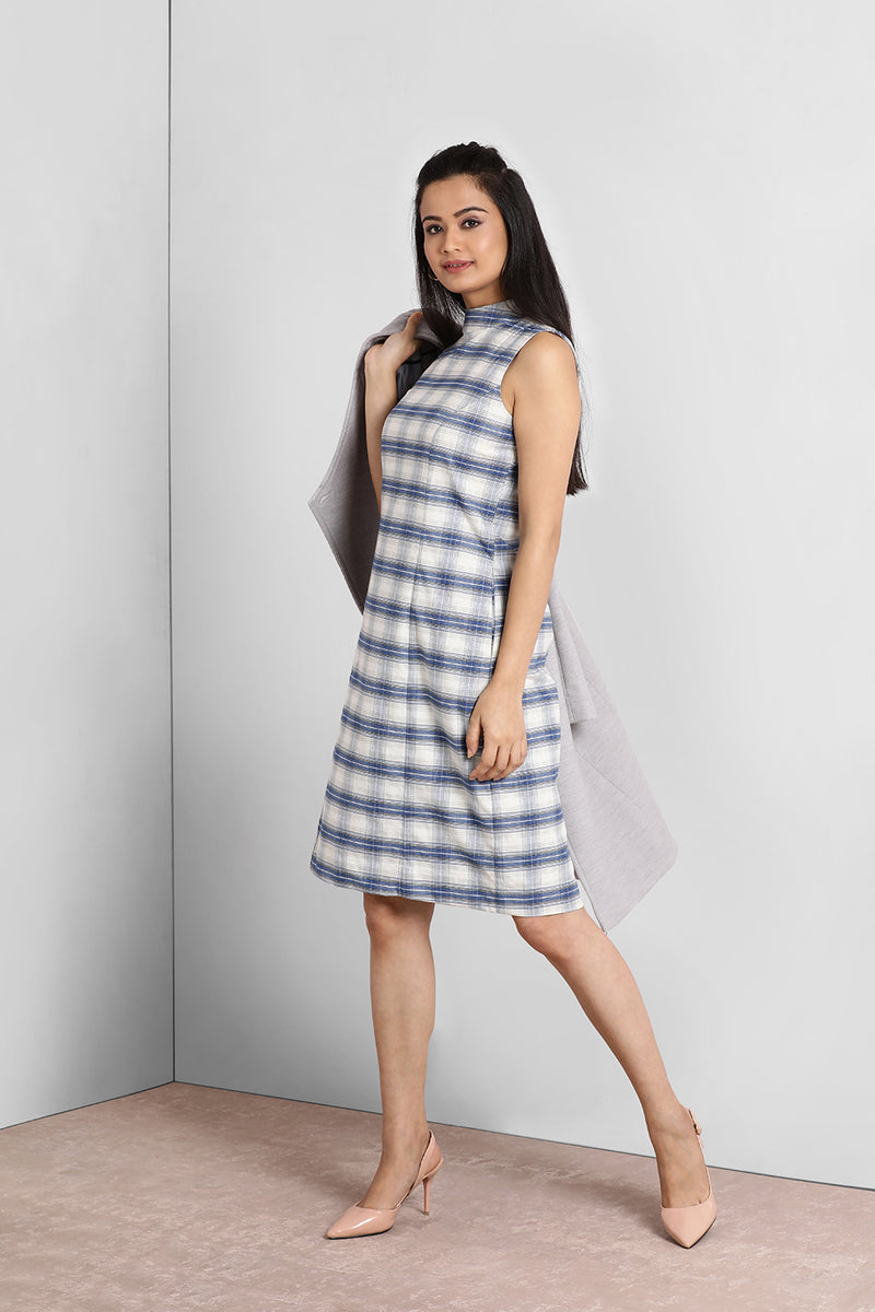 Blue And White Turtle Neck Shift Dress