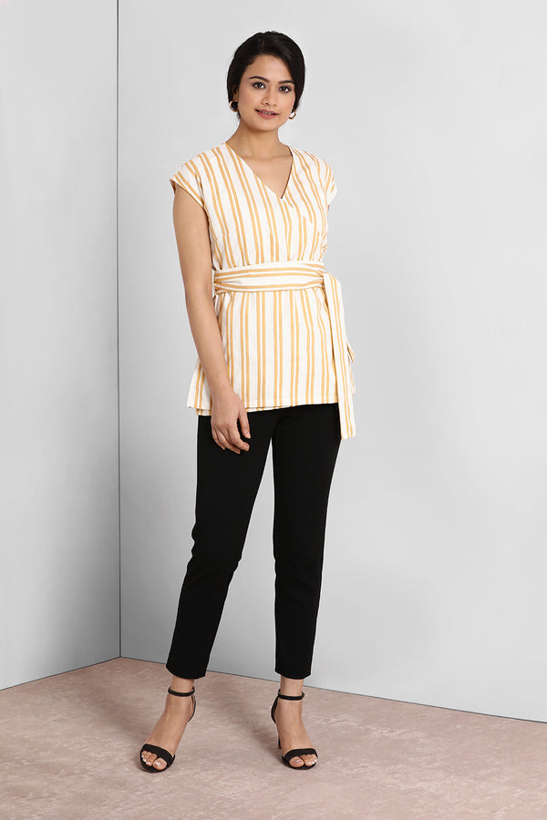 Yellow And White Stripe Wrap Top