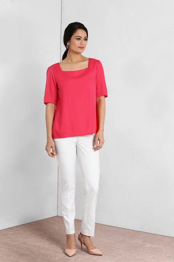 Pink Square Neck Puff Sleeve Top