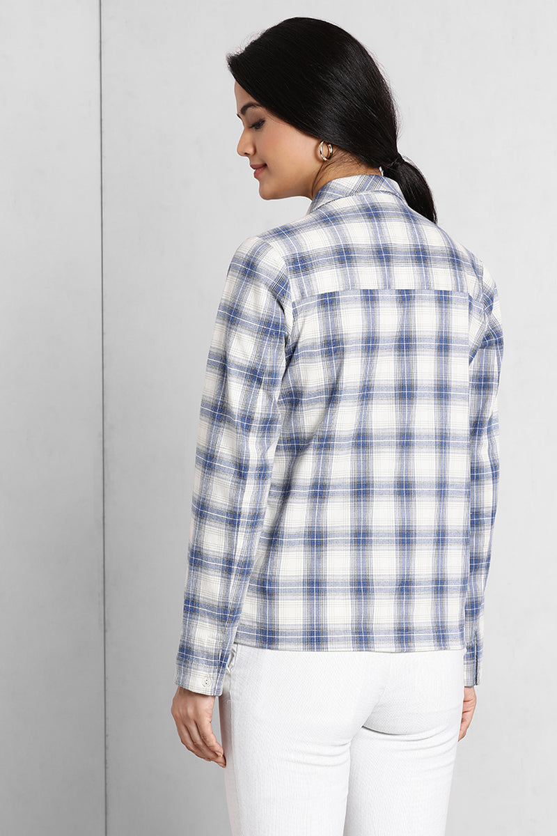Blue And White Boxy Notch Collar Shirt