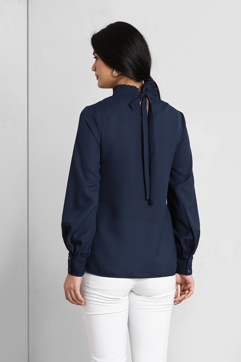 Navy Pleated Frill Neck Top