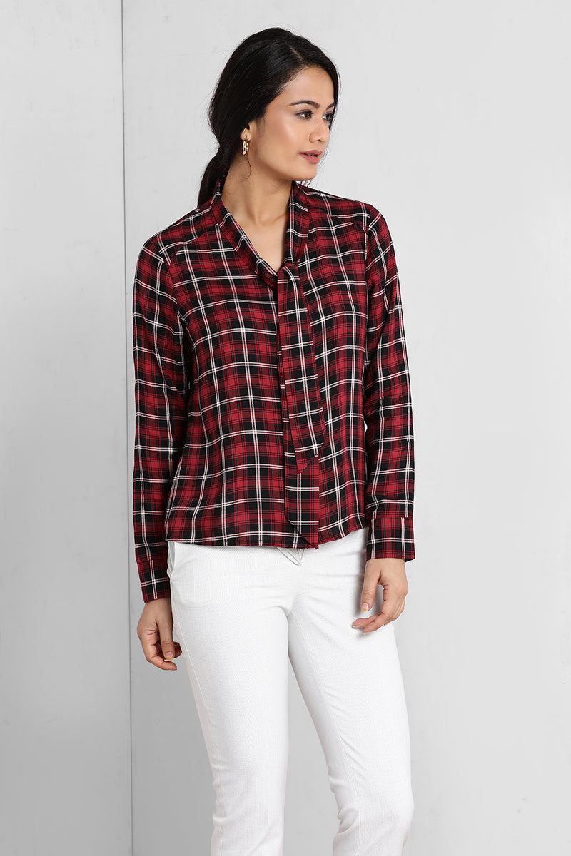 Red And Black Knot Shirt