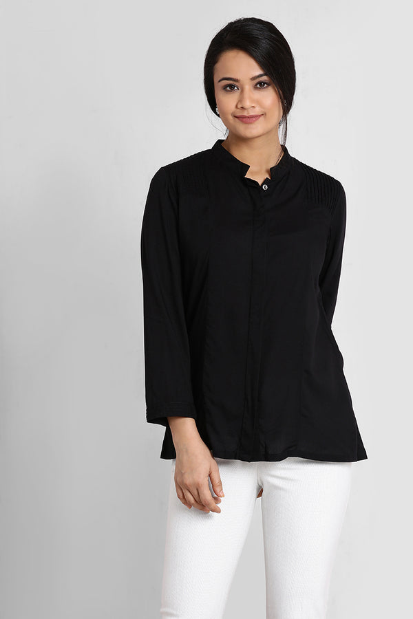 Black Shoulder Pin-Tucks Top