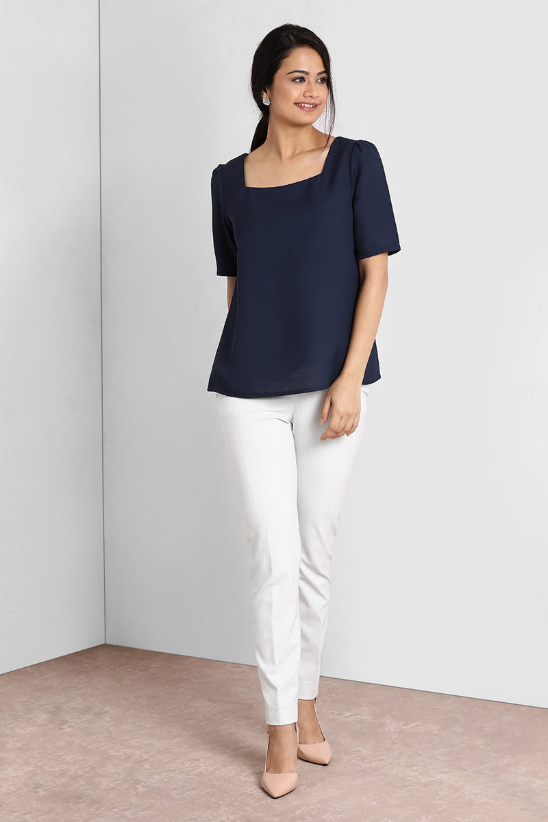 Navy Square Neck Puffy Sleeve Top