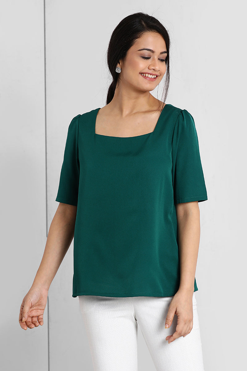 Teal Square Neck Puff Sleeve Top
