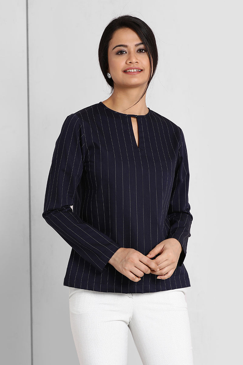Navy Stripes V Cut Neck Top