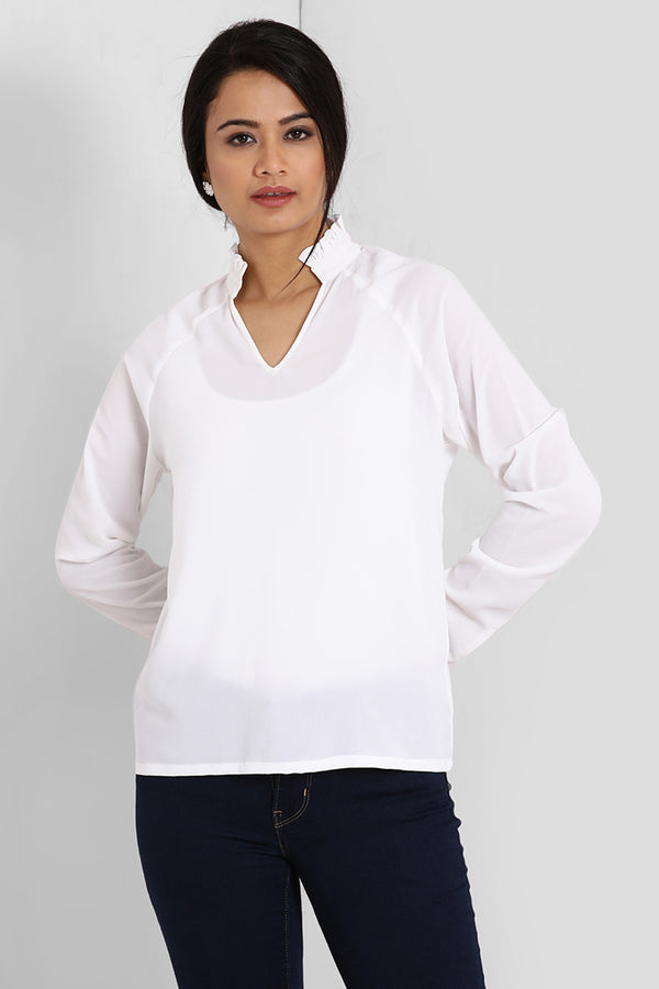 White Raglan Sleeve Top