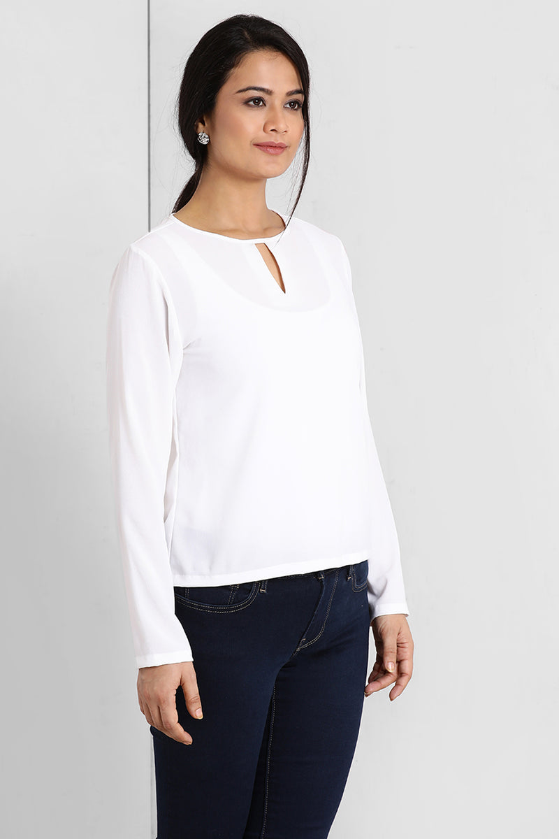 White V Cut Neck Top