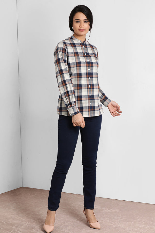 Brown And Blue Chinese Collar Shirt