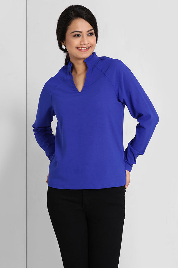 Electric Blue Raglan Sleeve Top