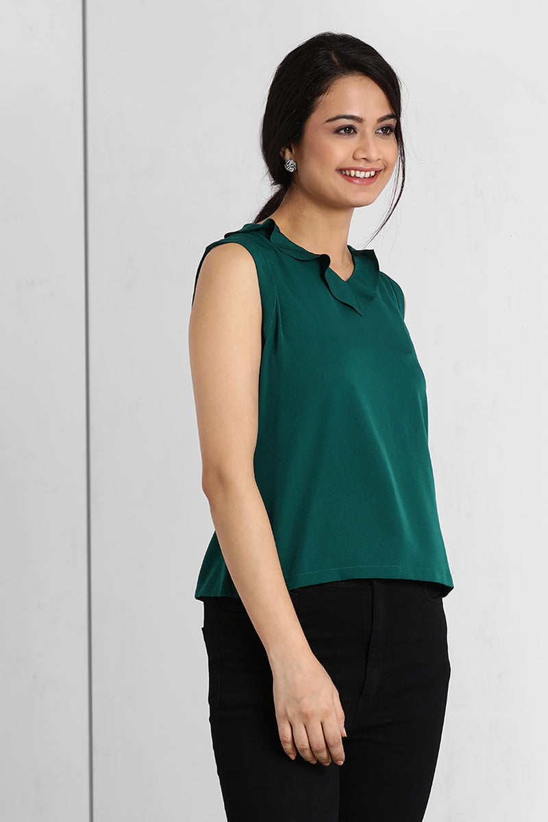 Teal V Frill Neck Top