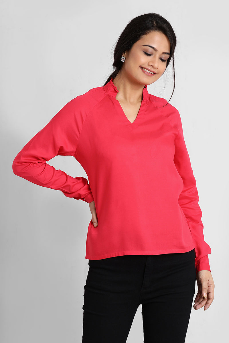 Pink Raglan Sleeve Top