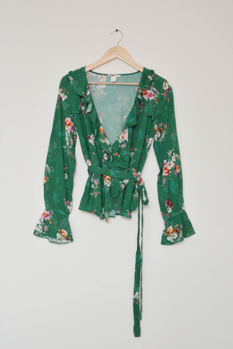 Preowned - Floral Print Green Ruffle Wrap Top